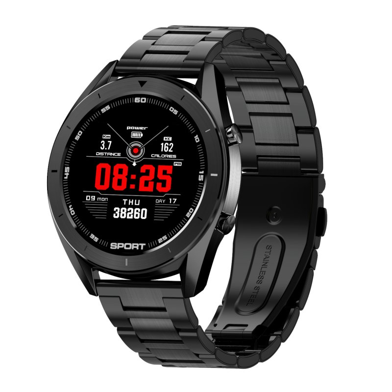 DT99 Smart Watch Men IP68 Waterproof 1.2inch Round Built-in 165mAh Battery Fitness Tracker Black