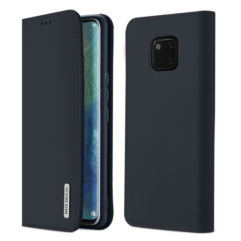 DUX DUCIS For Huawei MATE 20 pro Luxury Genuine Leather Magnetic Flip Cover Full Protective Case with Bracket Card Slot blue_Huawei MATE 20 pro