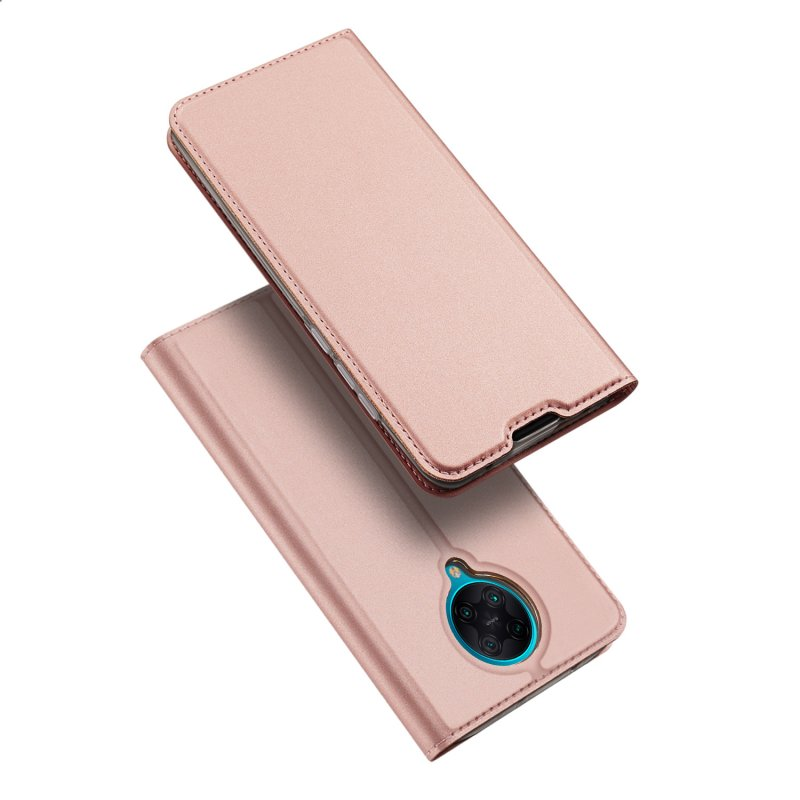 DUX DUCIS For Redmi K30 Pro Leather Mobile Phone Cover Magnetic Protective Case Bracket with Cards Slot Pink