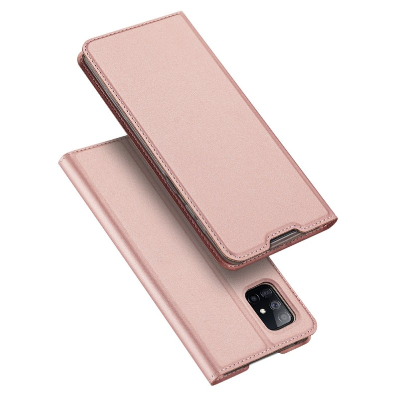 DUX DUCIS For Samsung A71 5G Leather Mobile Phone Cover Magnetic Protective Case Bracket with Cards Slot Rose gold