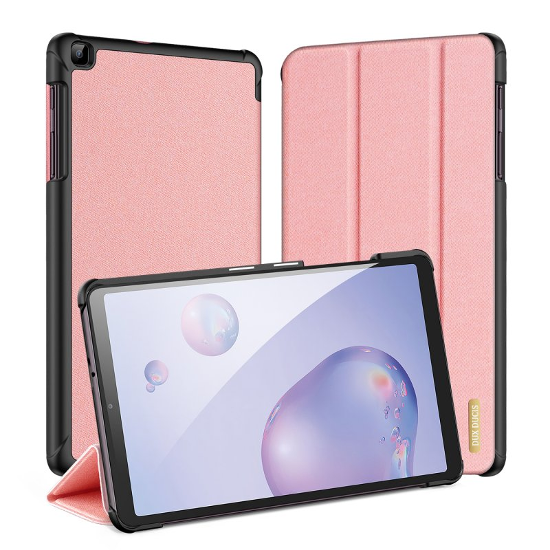 DUX DUCIS For Samsung Galaxy Tab A 8.4  2020 Simple Solid Color Smart PU Leather Case Anti-fall Protective Stand Cover with Sleep Function  Pink