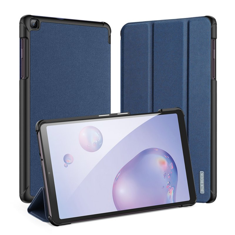 DUX DUCIS For Samsung Galaxy Tab A 8.4  2020 Simple Solid Color Smart PU Leather Case Anti-fall Protective Stand Cover with Sleep Function  Royal blue