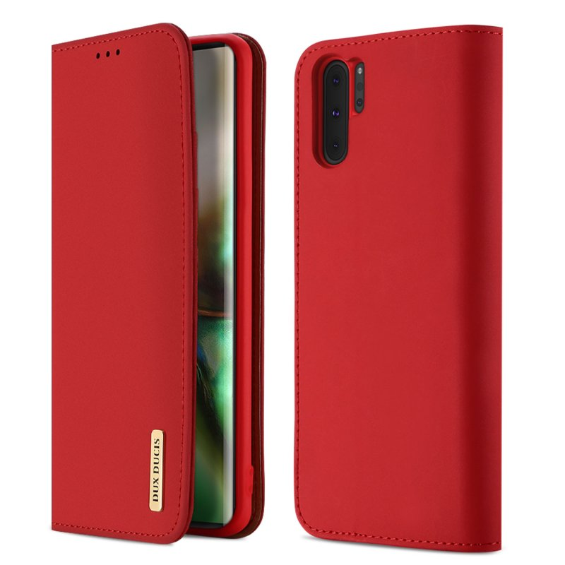 DUX DUCIS For Samsung NOTE 10 PLUS Luxury Genuine Leather Magnetic Flip Cover Full Protective Case with Bracket Card Slot red