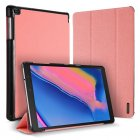 DUX DUCIS For Samsung TAB A 8.0 (2019) P200-P205 Simple Solid Color Smart PU Leather Case Anti-fall Protective Stand Cover with Pencil Holder Sleep Function  Pink