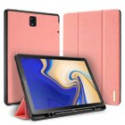 DUX DUCIS For Samsung TAB S4 10.5 Simple Solid Color Smart PU Leather Case Anti-fall Protective Stand Cover with Pencil Holder Sleep Function  Pink_Samsung TAB S4 10.5