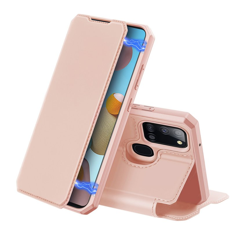 DUX DUCIS for Samsung A21S/A51 5G Magnetic Mobile Phone Holder Leather Case with Cards Slot Pink_Samsung A21S