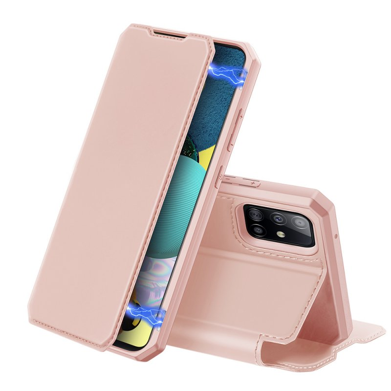 DUX DUCIS for Samsung A21S/A51 5G Magnetic Mobile Phone Holder Leather Case with Cards Slot Pink_Samsung A51 5G