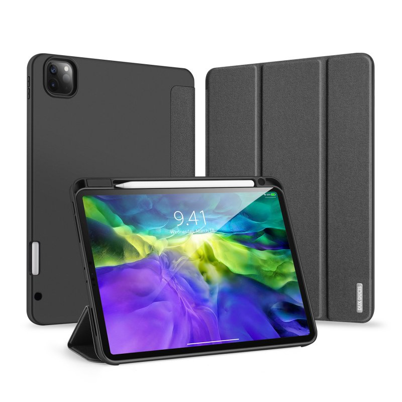 DUX DUCIS for iPad Pro 11  2020 Fall Resistant Leather Protective Case with Pen Holder Smart Stay Cover black