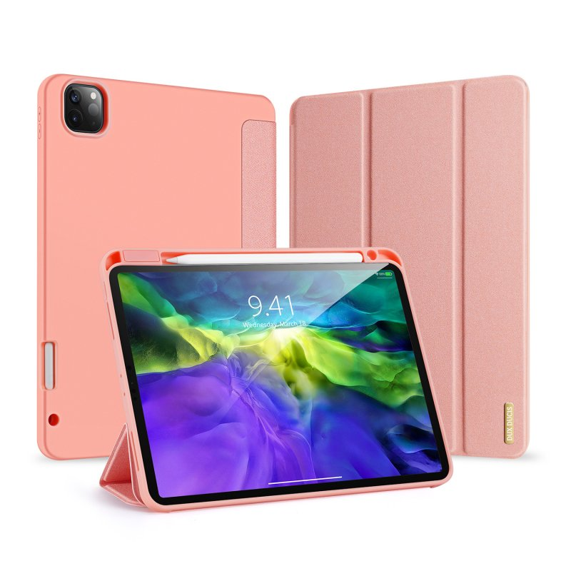 DUX DUCIS for iPad Pro 11  2020 Fall Resistant Leather Protective Case with Pen Holder Smart Stay Cover Pink