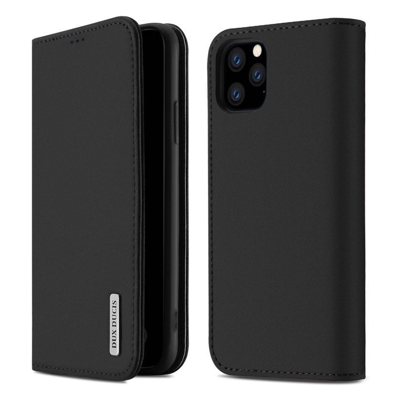 DUX DUCIS for iPhone 11 pro MAX 2019 Luxury Genuine Leather Magnetic Flip Cover Full Protective Case with Bracket Card Slot black
