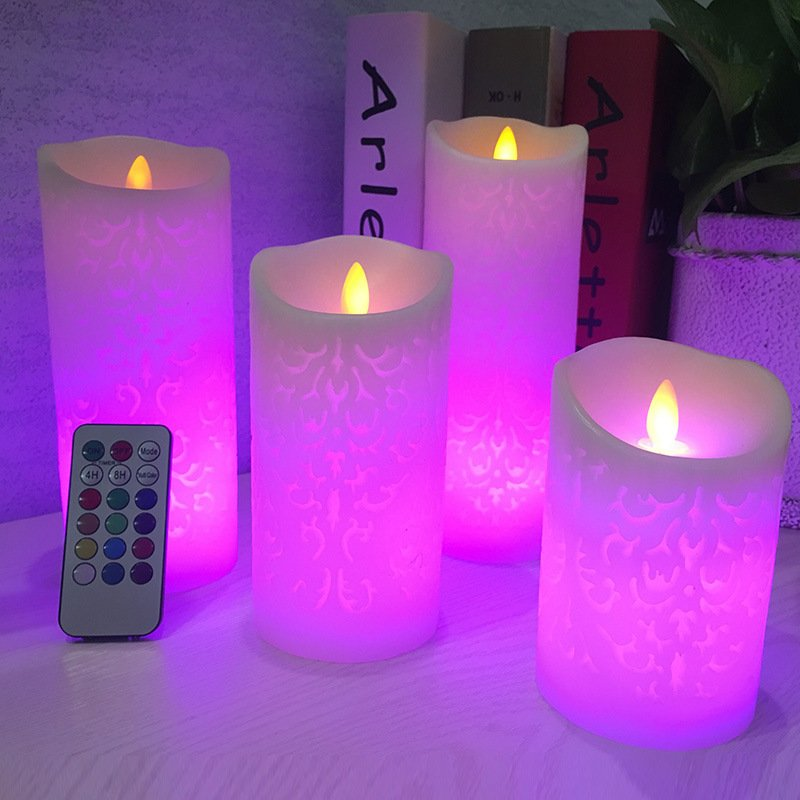 Dancing flame LED Candle with Remote Control, Pillar Candle for Wedding Christmas Decoration/Room Night Light 18-key remote control