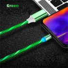 Data Line LED Magnetic Micro USB Cable Android Type-C IOS Fast Charging Cable for Mobile Phone green_Ios interface