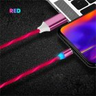 Data Line LED Magnetic Micro USB Cable Android Type-C IOS Fast Charging Cable for Mobile Phone red_Type C interface