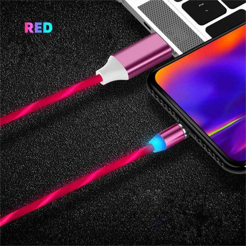 Data Line LED Magnetic Micro USB Cable Android Type-C IOS Fast Charging Cable for Mobile Phone red_Ios interface