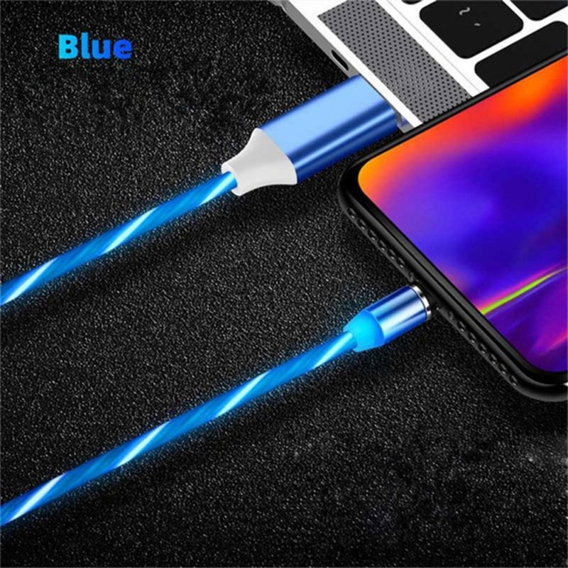 Data Line LED Magnetic Micro USB Cable Android Type-C IOS Fast Charging Cable for Mobile Phone blue_Ios interface
