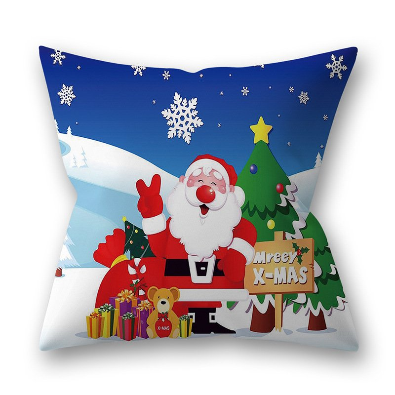 Decorative Polyester Peach Skin Christmas Series Printing Throw Pillow Cover 7#_45*45cm