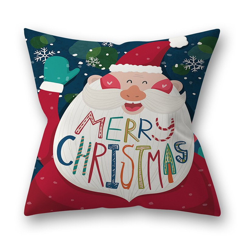 Decorative Polyester Peach Skin Christmas Series Printing Throw Pillow Cover 29#_45*45cm