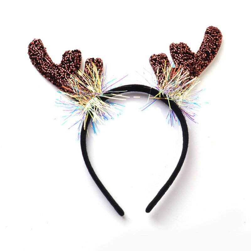 Deer Antlers/Horn Shape Headband Hair Hoop for Halloween Party Wear 2#Brown elk antlers