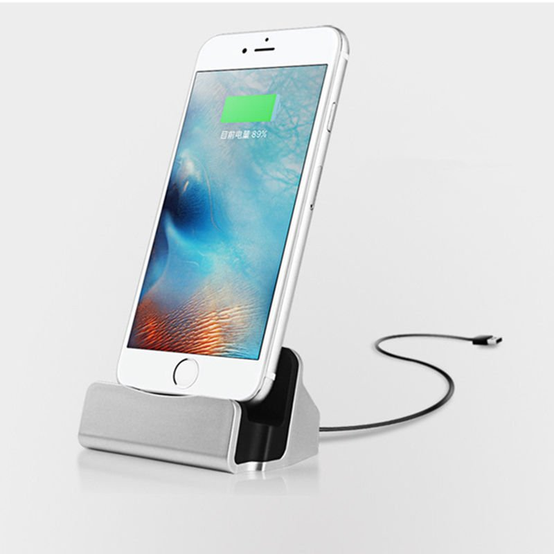 Desk Charger Charge and Sync Stand for IPhone 7 6s plus 6s 6 6plus 5s 5 Desktop Iphone Charger Silver