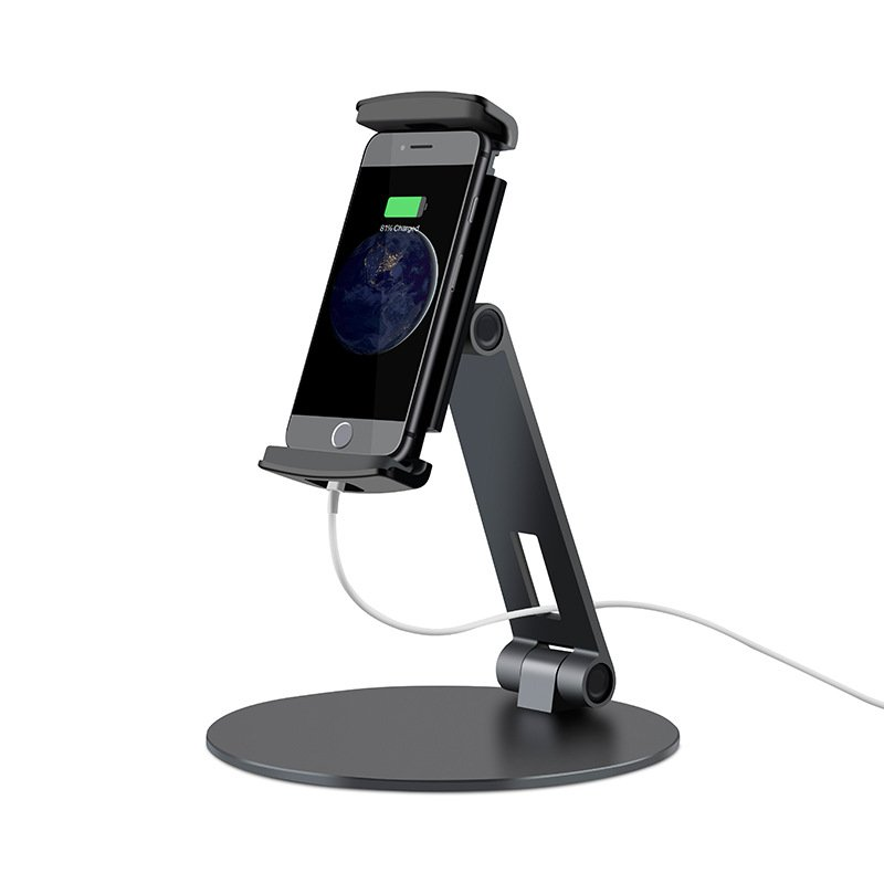 Desktop Aluminum Alloy Phone Tablet Holder Stand Desktop Phone Bracket Mount Office Desk Adjustable Display Cradle black