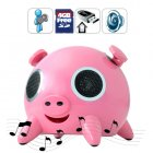 Desktop piggy stereo speaker with SD Card and USB slots plus a 3 5mm audio input for playing your favorite MP3 s   And it comes with a free 4GB SD Card