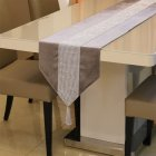 Diamante Strip Table Runner Table Flag with Tassel for Home Table Decoration 32CMX180CM  gray
