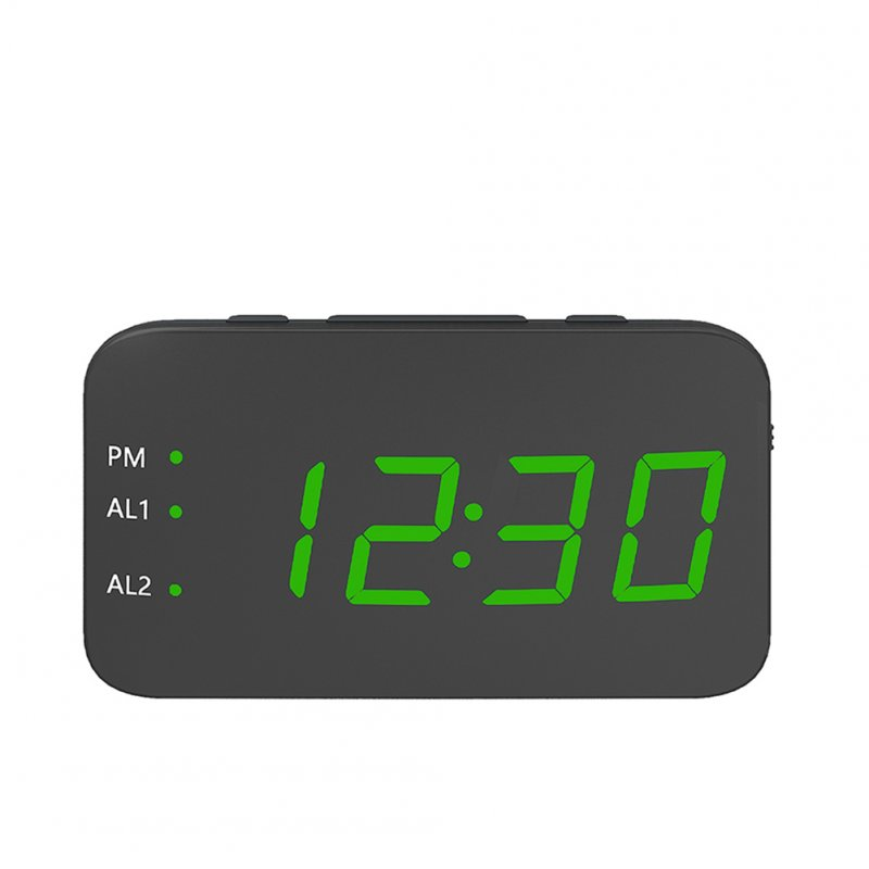 Digital LED Alarm Clock Large Mirrored Display Snooze Function Beside Clock for Bedroom Decor  green