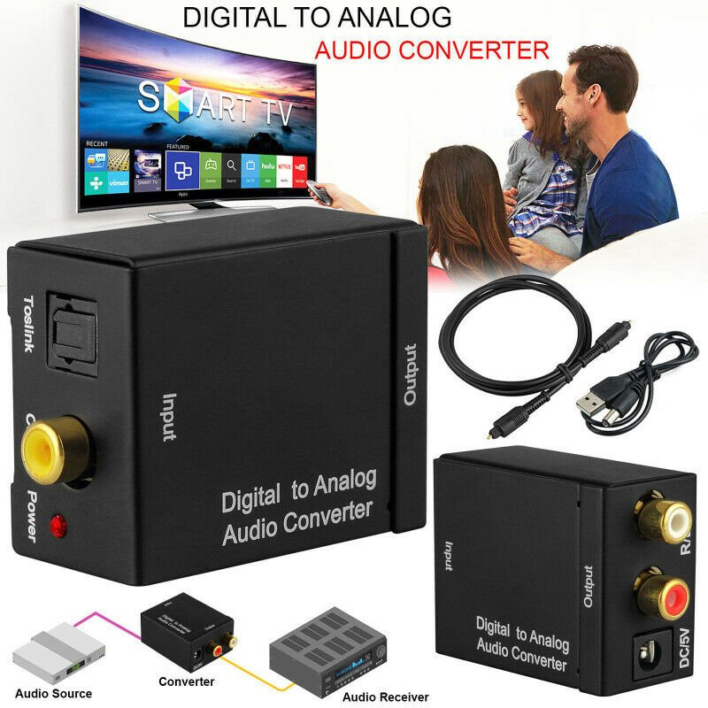 Digital Optical Coax to Analog RCA Audio Converter Adapter with Fiber Cable Host + USB cable + fiber optic cable