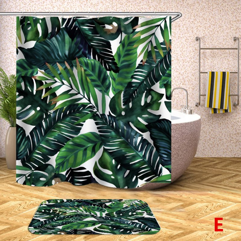 Digital Printing Leaf Pattern Shower Curtains Washable Colorful Curtains for Bathroom Shower Yl0613_180X180