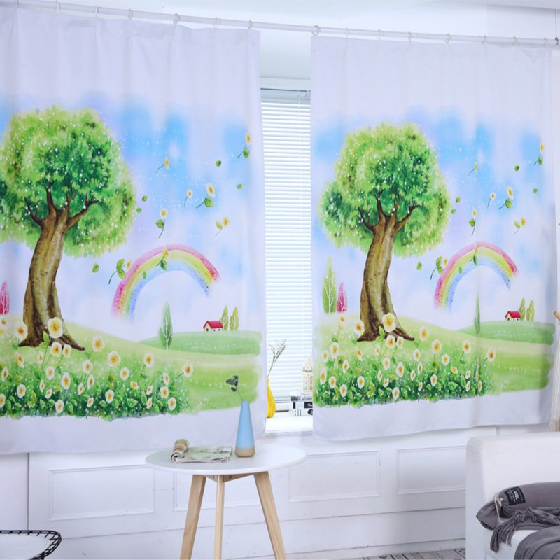 Digital Printing Shading Curtain for Living Room Home Window Decoration As shown_0.8 * 1 meter high