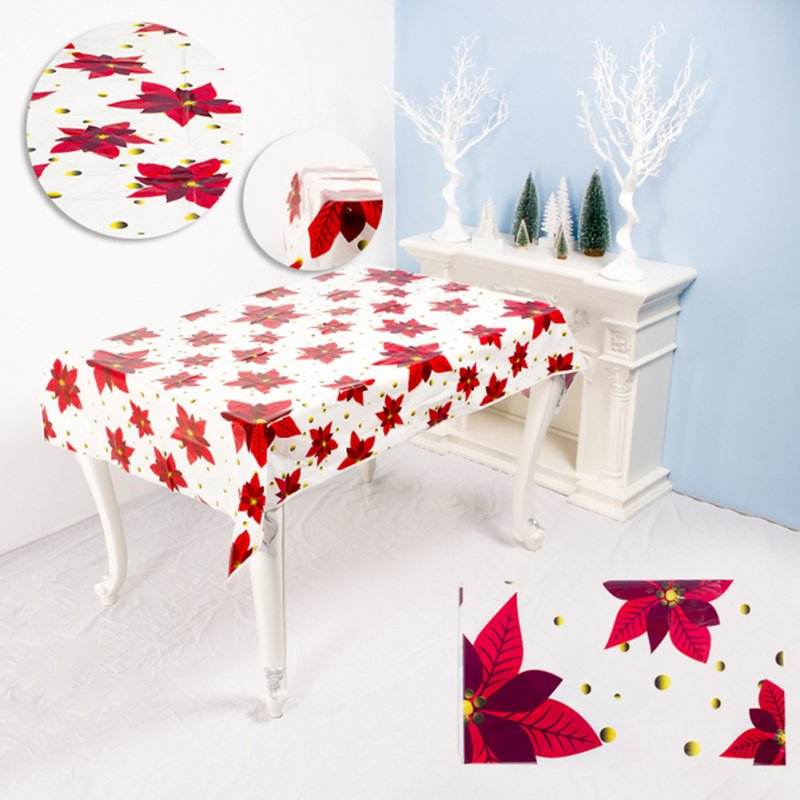 Disposable Christmas Series Rectangular Printed PVC Cartoon Tablecloth 110*180cm  A maple leaf