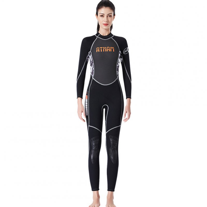 Diving Suit 3M Siamese Long Sleeve High Elastic Warm Anti Jellyfish Diving Suit Black/white camouflage_L