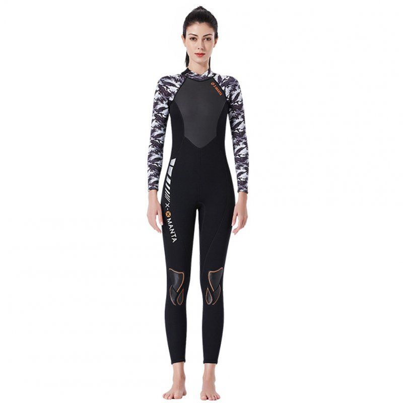 Diving Suit for Men 1.5MM Siamese Warm Jellyfish Suit Sun Block Female Ourdoor Long Sleeve Swimwear 1.5MM female black/white_L
