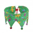 Dog Cat Neck Decoration with Bells Costume Festive Fun Colorful Clown Scarf for Pets Green Gingerbread Man_Collar 20-45cm