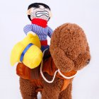Dog Cute Cospaly Costume Cowboy Style Outfit with Doll for Halloween Pet Costume  Hat section_M