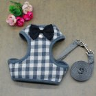 Dog Harness Leash Set Pet Cat Vest Harness with Bowknot for Small Puppy Dogs Chihuahua Yorkies Pug Gray grid S