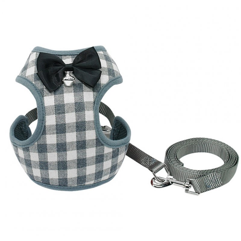 Dog Harness Leash Set Pet Cat Vest Harness with Bowknot for Small Puppy Dogs Chihuahua Yorkies Pug Gray grid_L