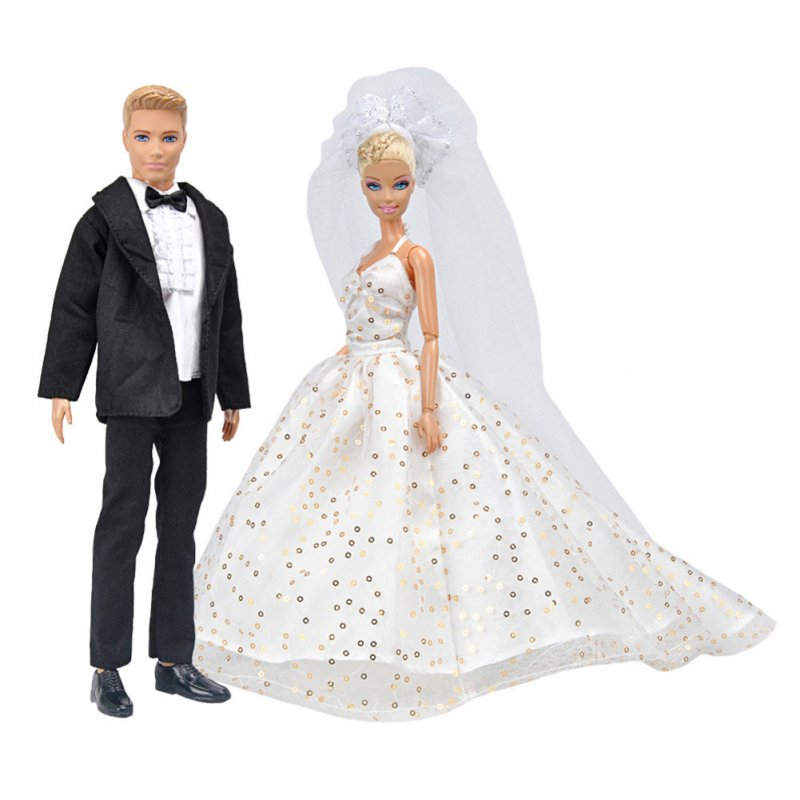 Doll Dress Luxury Wedding Dress + Suit+ Shoes Doll Accessories Long tail skirt + Ken dress