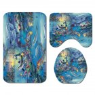 Dolphin Printing Shower Curtain/Toilet Lid Cover Bath Mat for Bathroom SY468_3PCS mat