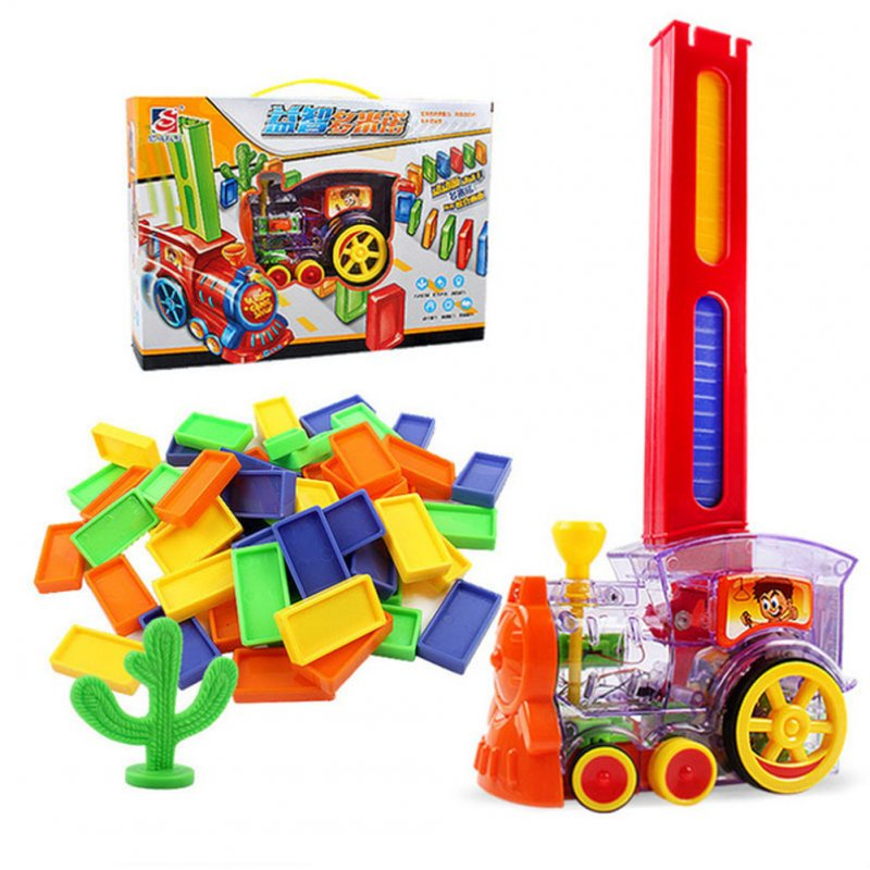 Domino Train Toy Set Rally Electric Train Model with 60 Pcs Colorful Domino Game Building Blocks Car Truck Vehicle Stacking 60pcs