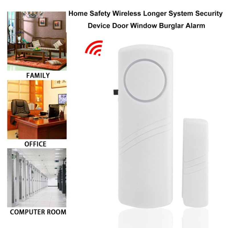 Door Window Wireless Burglar Alarm with Magnetic Sensor Home Safety Wireless Longer System Security Device  white