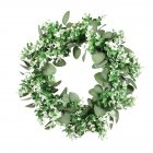 Double Color Eucalyptus Garland Green Plant Decoration Round Artificial Flower Wreath Door Living Room Decor A
