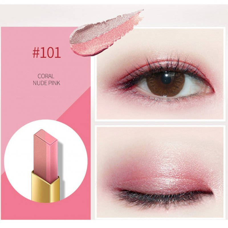 Double Colors Eyeshadow Pencil Waterproof Long-lasting Smooth Eye Shadow Stick 01# coral color / nude pink