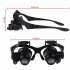 Double Eye Magnifier Glasses Jewelry Watch Repair Loupe Glasses with LED Light and 8 Lens black