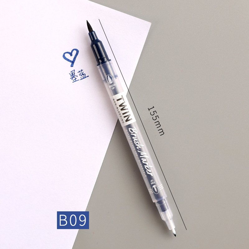 Double Head Marker Pen Multi Color Watercolor Water Based Hand Account Painting Pen Stationery Office Stationery ink blue_15cm