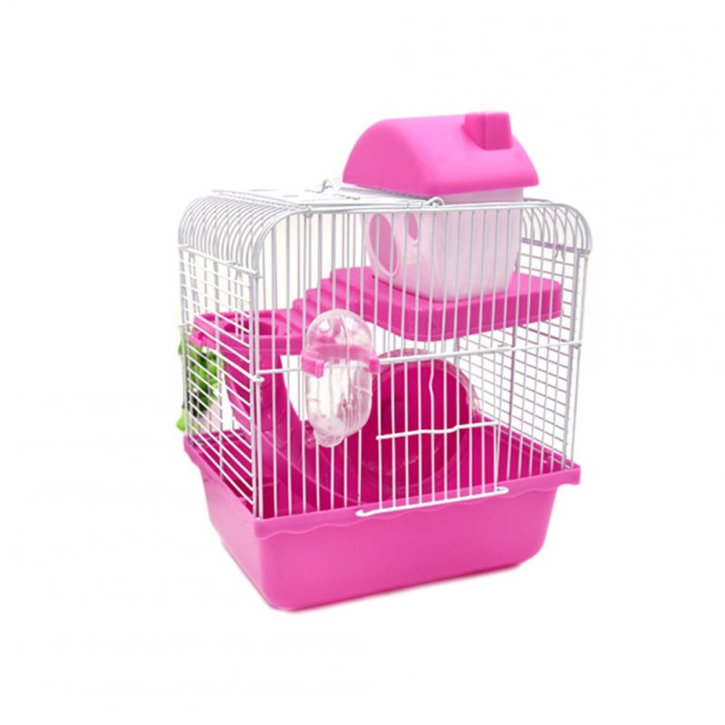 Double Layer Pet Cage Castle Toy for Pet Hamster Supplies Pink_23*17*30cm