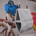 Double Layer Plush Nest Parrot Bird Hammock with Hanging Hook for Pet gray_25*15*33