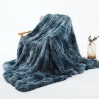 Double Layer Throw Blanket Long Hair Plush Decorative Tie-dye Blankets for Couch Sofa Bed Tie-dye blue