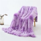 Double Layer Throw Blanket Long Hair Plush Decorative Tie-dye Blankets for Couch Sofa Bed Tie-dye pink purple