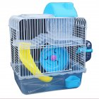 Double Layer Villa Shape Iron Wire Cage with Feeding Bowl Running Wheel Slide Toy for Pet Hamster blue_23*17*28cm